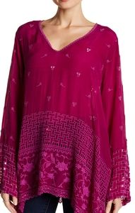 Johnny Was V-neck embroidered eyelet blouse purple